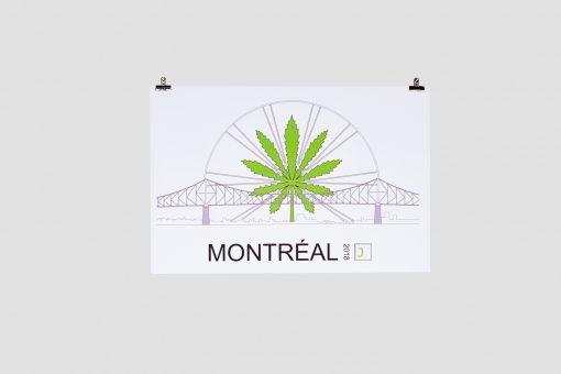 Cannabis Sunrise Cartier Bridge Poster